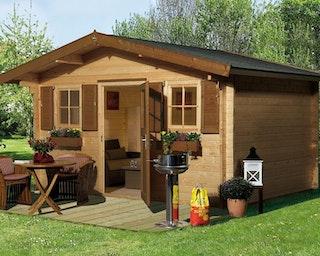 Weka 45 mm Gartenhaus 135 mit Vordach (60 cm)
