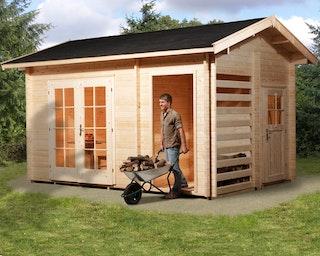 Weka 28 mm Gartenhaus 150 mit Holzlager und Geräteraum