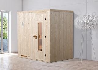 Weka Sauna Halmstad 1 mit Holztür und Fronteinstieg - 68 mm inkl. gratis Farblicht-Set