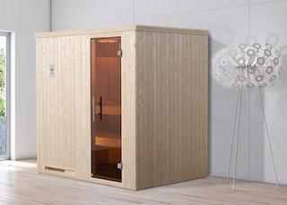Weka Sauna Halmstad 1 mit Glastür und Fronteinstieg - 68 mm inkl. gratis Farblicht-Set