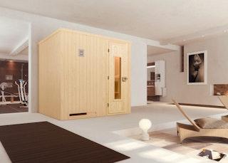 Weka Sauna Halmstad 2 mit Holztür und Fronteinstieg - 68 mm inkl. gratis Farblicht-Set