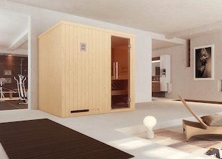 Weka Sauna Halmstad 2 mit Glastür und Fronteinstieg - 68 mm inkl. gratis Farblicht-Set