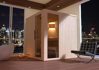 Weka Sauna Halmstad 2 mit Glastür + Fenster und Fronteinstieg - 68 mm inkl. gratis Farblicht-Set