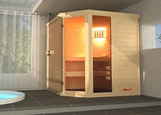 Weka Massivholz-Elementsauna Laukkala 2 mit Glastüre+Fenster - 38 mm mit Eckeinstieg inkl. gratis Farblicht-Set