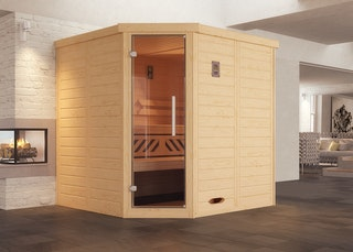 Weka Premium Massivholz-Elementsauna Kemi Eck 1 mit Glastür/Fenster inkl. Komfortpaket - 45 mm inkl. gratis Sternenhimmel