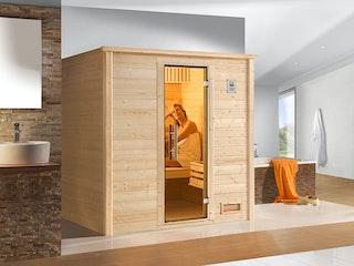 Weka Premium Massivholzsauna Bergen 1 - 45 mm inkl. gratis Farblicht-Set