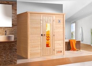 Weka Premium Massivholzsauna Bergen 2 - 45 mm inkl. gratis Farblicht-Set/Sternenhimmel