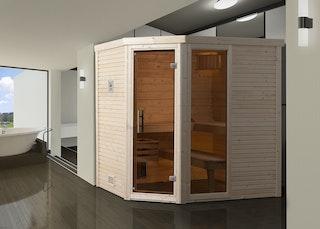 Weka Premium Massivholzsauna Cubilis 2 mit Glastür+Fenster ohne Montageservice - 45 mm inkl. gratis Sternenhimmel