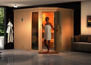 Weka Premium Massivholzsauna Cubilis 3 Familiensauna mit Glastür+Fenster ohne Montageservice - 45 mm inkl. gratis Sternenhimmel