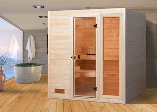Weka Sauna 537 / Valida Gr. 3 mit Glastür+Fenster - Massivholzsauna 38 mm inkl. gratis Farblicht-Set