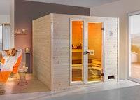 Weka Sauna 538 / Valida Gr. 4 Glastür+Fenster - Massivholzsauna 38 mm