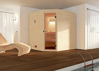 Weka Sauna Valida Eck Gr. 2 mit Glastür - Massivholzsauna 38 mm mit Eckeinstieg inkl. gratis Farblicht-Set