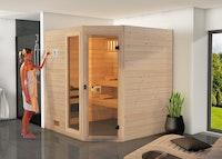 Weka Sauna Valida Eck Gr. 2 mit Glastür+Fenster - Massivholzsauna 38 mm