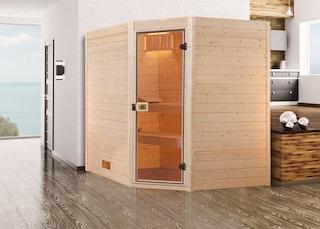 Weka Sauna Valida Eck Gr. 3 mit Glastür - Massivholzsauna 38 mm mit Eckeinstieg inkl. gratis Farblicht-Set