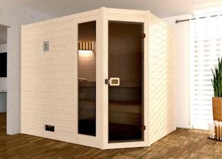 Weka Sauna Valida Eck Gr. 3 mit Glastür+Fenster - Massivholzsauna 38 mm mit Eckeinstieg inkl. gratis Sternenhimmel