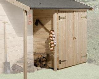Weka Kombination Schleppdach u. Anbauschrank für Blockbohlenhäuser (ab Breite 200 cm)