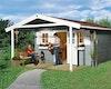 Weka 28 mm Gartenhaus 110 A mit Vordach (200 cm)