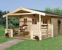 Weka 28 mm Gartenhaus 110 B mit Vordach + Terrasse (200 cm)