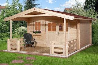 Weka 28 mm Gartenhaus 111 B mit Vordach und Terrasse (200 cm)