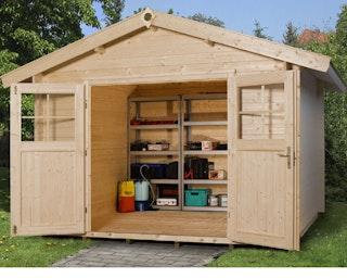 Weka 28 mm Gartenhaus Premium 28 mit Vordach (20 cm)