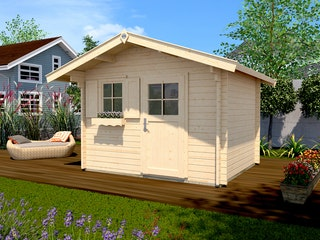 Weka 45 mm Gartenhaus 131 mit Vordach (60 cm)