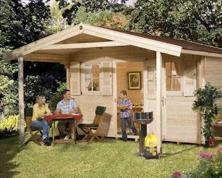 Weka 45 mm Gartenhaus 135 A mit Vordach (200 cm)