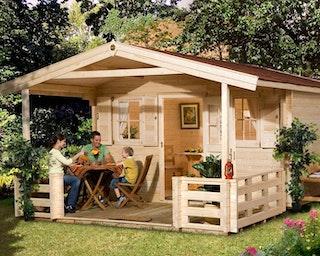 Weka 45 mm Gartenhaus 135 B mit Vordach +Terrasse