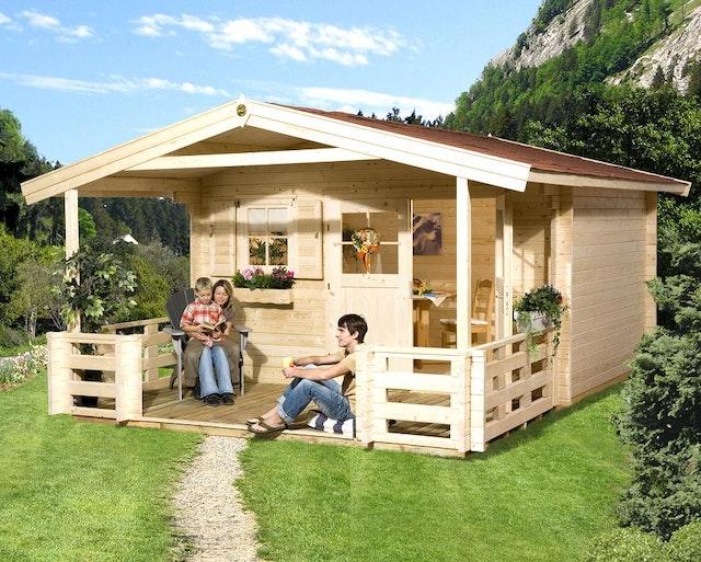 Weka 45 mm Gartenhaus 136 B mit Vordach+Terrasse