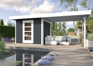 Weka Gartenhaus Designhaus wekaLine 172 B mit Anbau (295 cm)