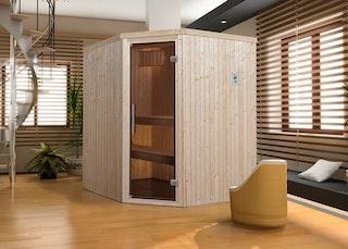 """Weka Sauna Kiruna 2 mit Glastür und Eckeinstieg 230 V - 68 mm - """"Alles dabei"""" inkl. gratis Sternenhimmel"""