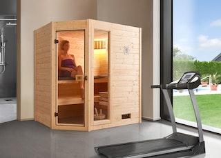 Weka Sauna Valida Eck 1 mit Glastür/Fenster- Massivholzsauna 38 mm