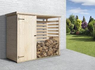 Weka Brennholzlager 663 mit Geräteraum - 16 mm