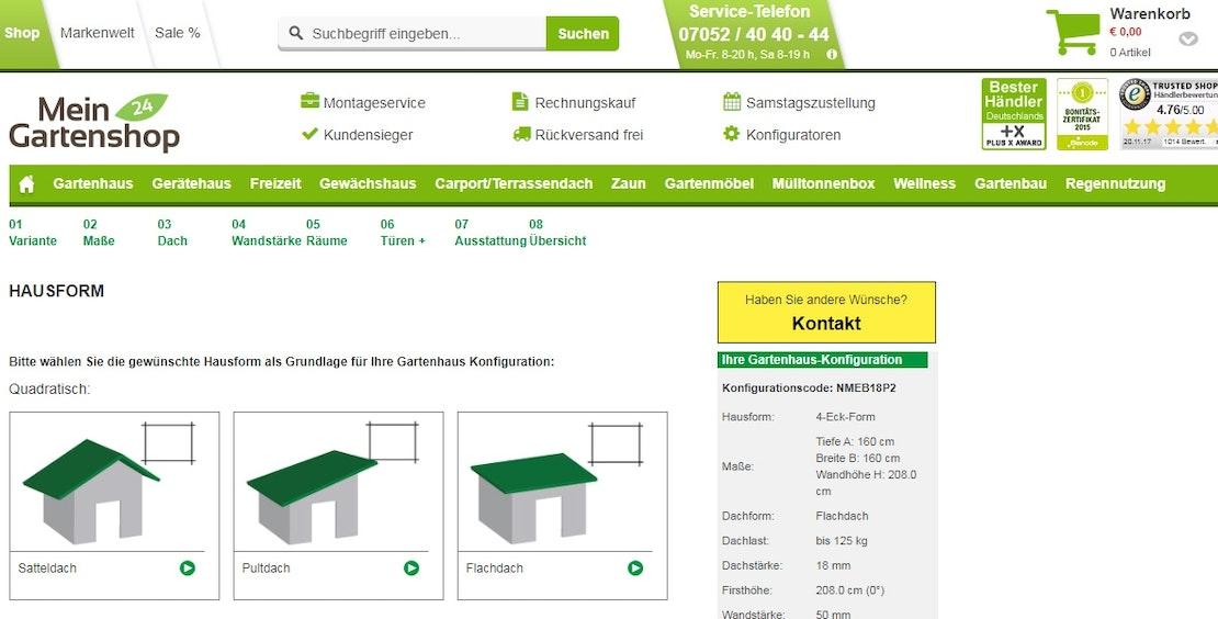Wolff Finnhaus Gartenhaus Konfigurator
