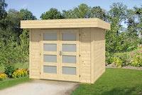 Wolff Finnhaus Gartenhaus Varianta B basic 28 mm inkl. gratis Fundamentanker/Pads