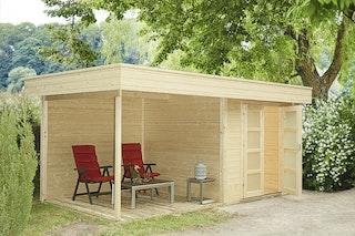 Wolff Finnhaus Gartenhaus Varianta A mit Seitendach, Rückwand & Terrassenfußboden 250 cm inkl. gratis Fundamentanker/Pads