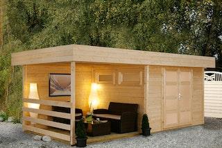 Wolff Finnhaus Gartenhaus Varianta B mit SD/Rückwand/Terrassenfußboden 250 cm inkl. gratis Fundamentanker/Pads