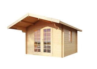 Wolff Finnhaus Blockbohlenhaus Bergen 44-A/B isolierverglast inkl. gratis Fundamentanker/Pads