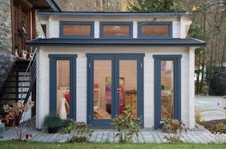 Wolff Finnhaus Blockbohlenhaus Langeoog 58-B isolierverglast inkl. gratis Fundamentanker/Pads