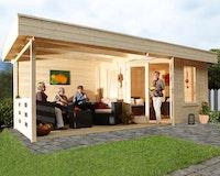 Wolff Finnhaus Terrassenhaus Gartenhaus Nina 28-B mit Terrasse inkl. gratis Fundamentanker/Pads