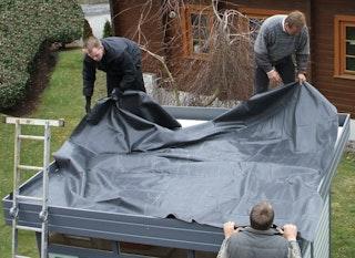 EPDM Foliendach für Wolff Finnhaus Gartenhaus Nina 28-B mit Terrasse / Bastrup 5 mit 3 m Schleppdach