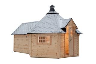 Wolff Finnhaus Grillkota 9 de luxe mit Saunaanbau