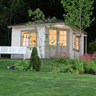 Wolff Finnhaus Gartenhaus Maria 44-A/B isolierverglast inkl. gratis Fundamentanker/Pads