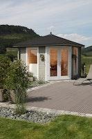 Wolff Finnhaus Gartenhaus 5-Eckhaus Katrin 58-A/B inkl. gratis Fundamentanker/Pads
