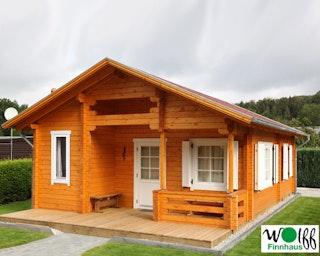 Wolff Finnhaus Gartenhaus Ferienhaus Spessart D inkl. gratis Fundamentanker/Pads