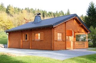 Wolff Finnhaus Gartenhaus Ferienhaus Vogelsberg inkl. gratis Fundamentanker/Pads