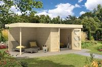 Wolff Finnhaus Gartenhaus Calais mit Anbau und Rückwand - Aktionsmodell- inkl. gratis Fundamentanker/Pads