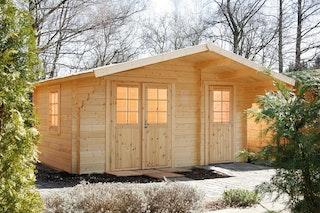 Wolff Finnhaus Gartenhaus Caro 34 Klassik XL inkl. gratis Fundamentanker/Pads