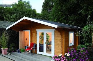 Wolff Finnhaus Gartenhaus Caro 58-C Modern isolierverglast- inkl. gratis Fundamentanker/Pads
