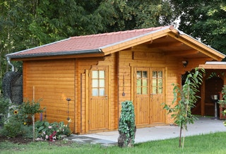 Wolff Finnhaus Gartenhaus Caro 58-C Klassik isolierverglast inkl. gratis Fundamentanker/Pads