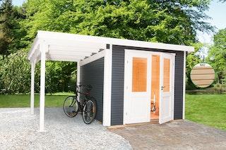 Wolff Finnhaus Gartenhaus Pulti Softline 2424 - 28 mm inkl. gratis Fundamentanker/Pads